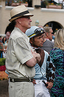 Mike Mitchell and jockey Garrett Gomez in the paddock for the Del Mar Handicap at Del Mar Race Course in Del Mar, California on August 25, 2012.