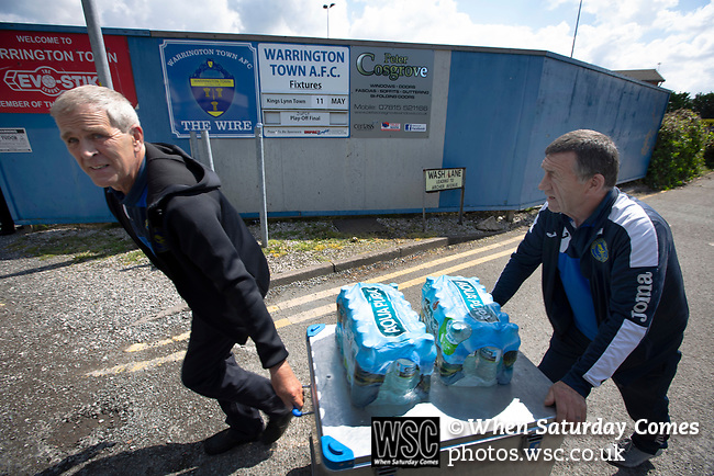 The visitor's backroom staff wheeling in supplies before Warrington Town played King's Lynn Town in the Northern Premier League premier division super play-off final tie at Cantilever Park, Warrington. The one-off match was between the winners of play-off matches in the Northern Premier League and the Southern League Premier Division Central to determine who would be promoted to the National League North. The visitors from Norfolk won 3-2 after extra-time, watched by a near-capacity crowd of 2,200.