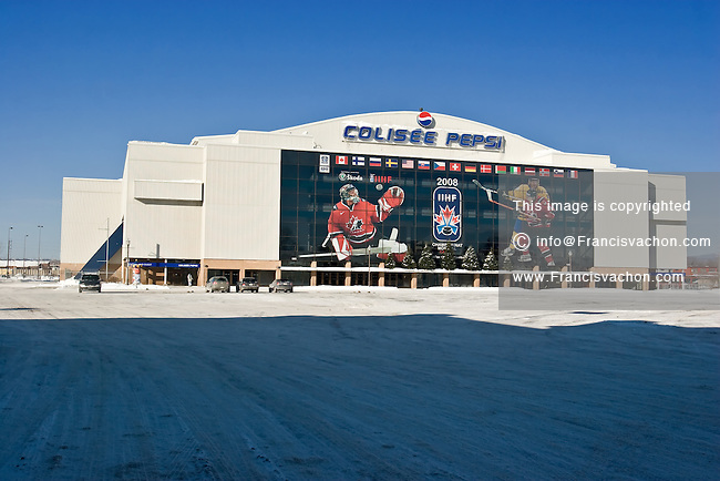 Outside view of the Colisee Pepsi Arena in Quebec City, all dressed up with the IIHF 2008 Ice hockey championship. The 2008 tournament will be held in Halifax and Quebec City in May.