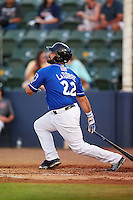 Biloxi Shuckers designated hitter Tyler LaTorre (22) at bat during a game against the Birmingham Barons on May 23, 2015 at Joe Davis Stadium in Huntsville, Alabama.  Birmingham defeated Biloxi 2-0 as the Shuckers are playing all games on the road, or neutral sites like their former home in Huntsville, until the teams new stadium is completed in early June.  (Mike Janes/Four Seam Images)