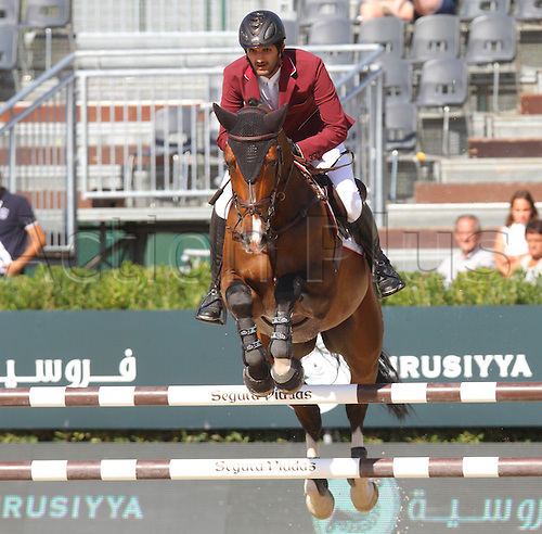 25.09.2015. CSIO, Barcelona, Spain.  Hamad Ali Mohamed A Al Attiyah (QAT) riding Appagino during EL Peridodico Trophy at Real Club de Polo de Barcelona