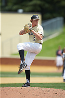 Wake Forest Demon Deacons pitcher Colin Peluse (8) in action against the Virginia Cavaliers at David F. Couch Ballpark on May 19, 2018 in  Winston-Salem, North Carolina. The Demon Deacons defeated the Cavaliers 18-12. (Brian Westerholt/Four Seam Images)