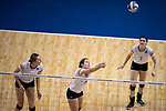 GRAND RAPIDS, MI - NOVEMBER 18: Karen Wildemann (21) of Wittenberg University bumps the ball during the Division III Women's Volleyball Championship held at Van Noord Arena on November 18, 2017 in Grand Rapids, Michigan. Claremont-M-S defeated Wittenberg 3-0 to win the National Championship. (Photo by Doug Stroud/NCAA Photos via Getty Images)