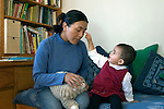 Berkeley CA Nepalese girl, nineteen-months-old, pointing to mother's eye while naming it  MR