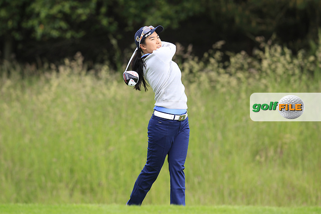 Mika Liu on the 3rd tee during the Friday morning foursomes at the 2016 Curtis cup from Dun Laoghaire Golf Club, Ballyman Rd, Enniskerry, Co. Wicklow, Ireland. 10/06/2016.<br /> Picture Fran Caffrey / Golffile.ie<br /> <br /> All photo usage must carry mandatory copyright credit (&copy; Golffile   Fran Caffrey)