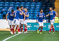Gareth Evans of Portsmouth celebrates his equalising goal during the FA Cup 1st round match between Portsmouth and Wycombe Wanderers at Fratton Park, Portsmouth, England on the 5th November 2016. Photo by Liam McAvoy.