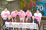 THINK PINK: Declan Keegan, Eoin Walsh and Brian Daly of Debenhams store who took part in the run from Debenhams Store, Manor West Retail Park, Tralee to Fenit on Saturday in aid of Breast Cancer pictured with staff members outside the store,