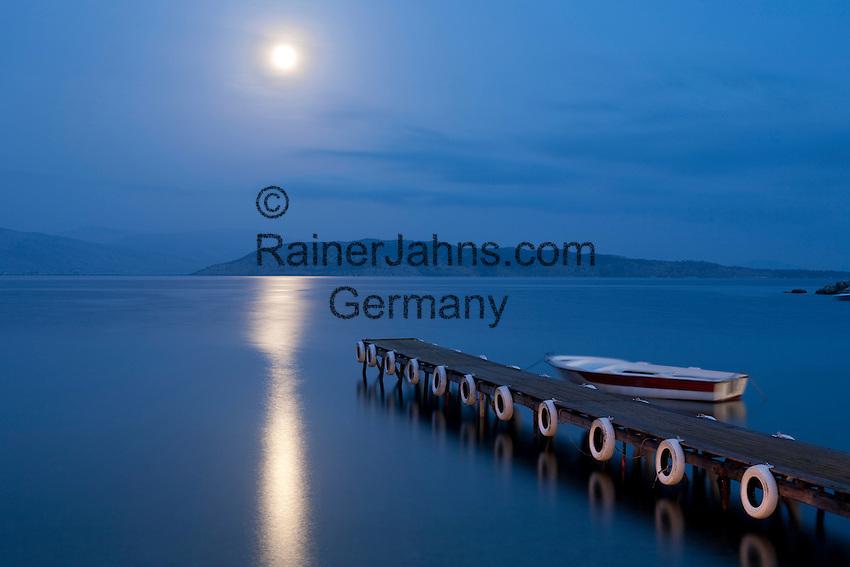 Greece, Corfu, Agni: Moonrise over pier