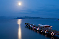 Greece, Corfu, Agni: Moonrise over pier