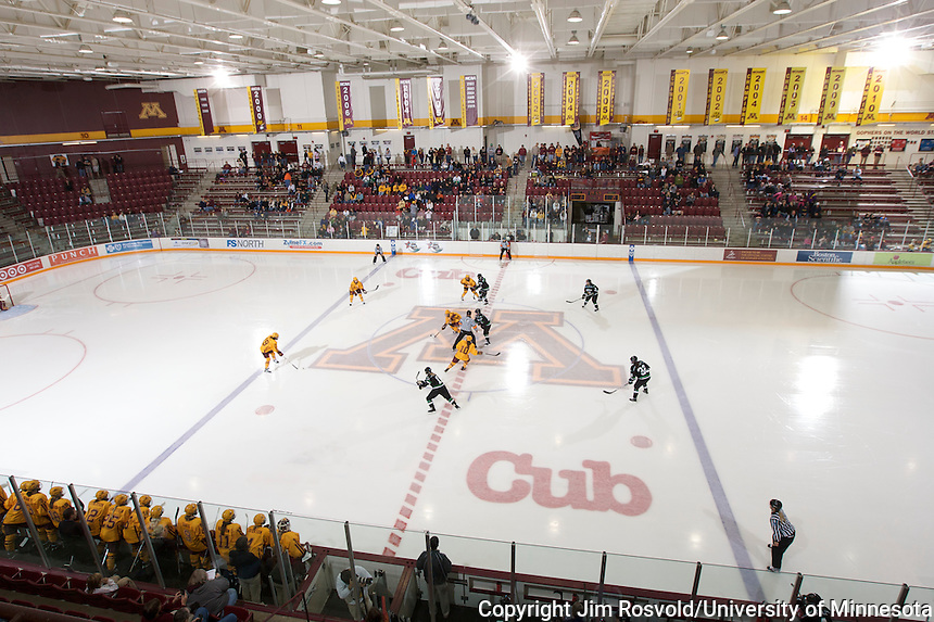 16 Oct 2010: The University of Minnesota plays host the University of North Dakota in a WCHA conference game at Ridder Arena in Minneapolis, MN...NCAA Bylaw 12.5.11 prohibits the use of a student-athlete's name, picture, or identity to .promote the sale of a commercial product or service. It is the intent of the photographer that this photo shall not be used in any way that may constitute advertising or .promotion of any commercial product or service.