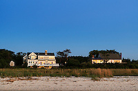 Beach houses reflect sunset, Eastham, Cape Cod, Massachusetts, USA