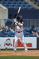 Jack Lopez (1) of the Gwinnett Stripers at bat against the Scranton/Wilkes-Barre RailRiders at Coolray Field on August 18, 2019 in Lawrenceville, Georgia. The RailRiders defeated the Stripers 9-3. (Brian Westerholt/Four Seam Images)