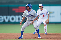Omaha Storm Chasers second baseman Angel Franco (16) at second base during a game against the Oklahoma City Dodgers at Chickasaw Bricktown Ballpark on June 16, 2016 in Oklahoma City, Oklahoma. Oklahoma City defeated Omaha 5-4  (William Purnell/Four Seam Images)