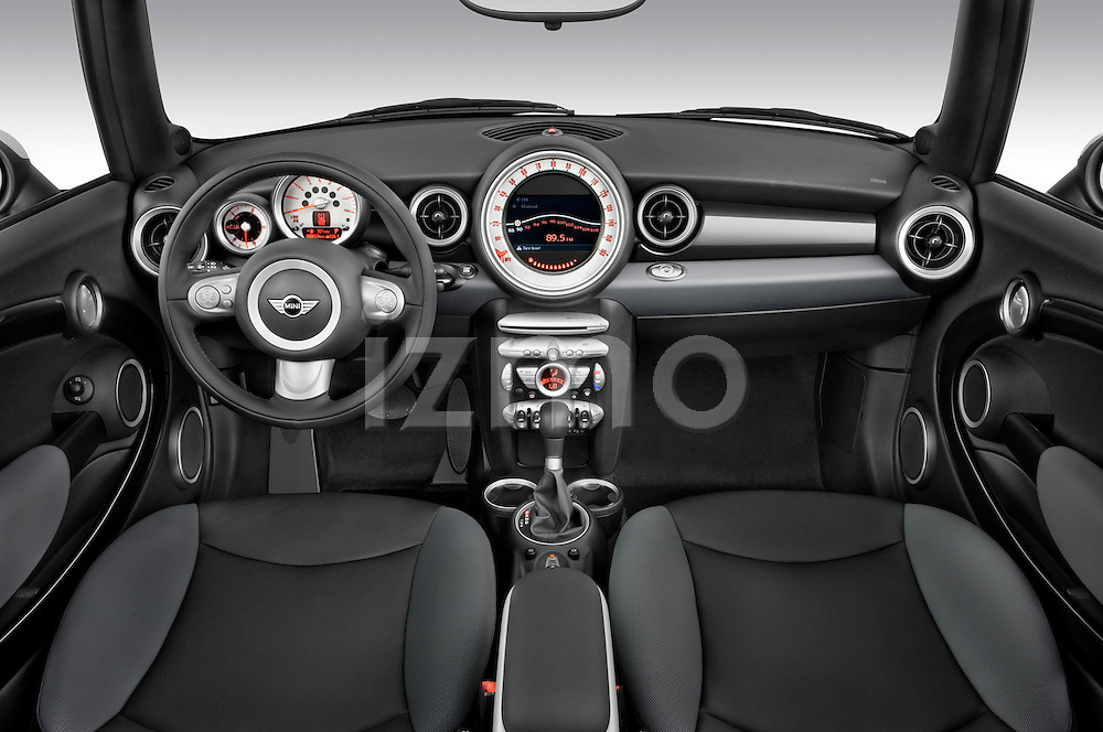 High angle dashboard view of a 2010 Mini Cooper Convertible