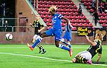 Solna 2015-08-31 Fotboll Damallsvenskan AIK - Eskilstuna United :  <br /> Eskilstunas Gaelle Enganamouit g&ouml;r 0-2 under matchen mellan AIK och Eskilstuna United <br /> (Foto: Kenta J&ouml;nsson) Nyckelord:  Damallsvenskan Allsvenskan Dam Damer Damfotboll Skytteholm Skytteholms IP AIK Gnaget Eskilstuna United jubel gl&auml;dje lycka glad happy