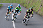 Adam Yates (GBR) Mitchelton-Scott, Jon Izagirre (ESP) and Jakob Fuglsang (DEN) Astana Pro Team 1 minute down at the end of Stage 5 of the Tour of the Basque Country 2019 running 149.8km from Arrigorriaga to Arrate, Spain. 12th April 2019.<br /> Picture: Colin Flockton | Cyclefile<br /> <br /> <br /> All photos usage must carry mandatory copyright credit (© Cyclefile | Colin Flockton)