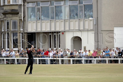 17 July 2005: American golfer Tiger Woods (USA) looks into the distance after playing from the fairway during the final round. Woods shot a 2 under par 70 to be 14 under and win the Open Championship, The Old Course at St Andrews, Scotland. Photo: Glyn Kirk/Actionplus...golf player 050717