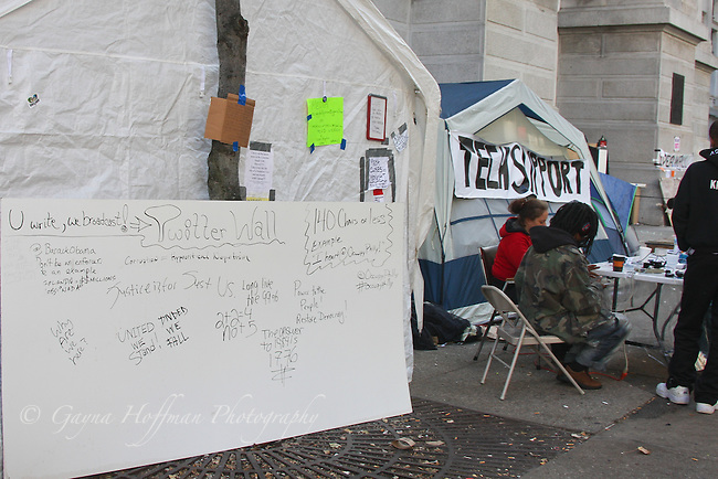 Twitter Wall and Tech Support tent at 99% Protest tent encampment in Philadelphia, PA
