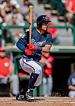 25 February 2019: Atlanta Braves outfielder Rafael Ortega at bat in the 3rd inning of a pre-season Spring Training game against the Washington Nationals at Champion Stadium in the ESPN Wide World of Sports Complex in Kissimmee, Florida. The Braves defeated the Nationals 9-4 in Grapefruit League play in what will be their last season at the Disney / ESPN Wide World of Sports complex. Mandatory Credit: Ed Wolfstein Photo *** RAW (NEF) Image File Available ***