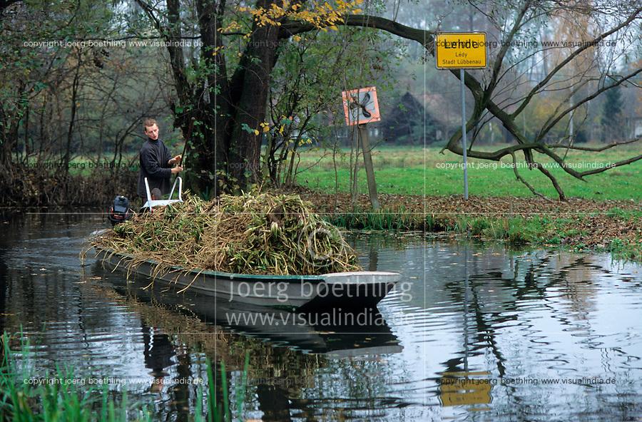 GERMANY, farmer transport harvested horseradish by boat in Spreewald / DEUTSCHLAND, Spreewald, Bauer transportiert Meerrettich per Boot