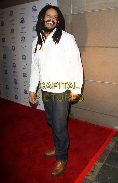 "ROHAN MARLEY .Shawne Merriman's 3rd Annual ""Lights ON Bowl"" Charity Event held at The Lucky Strike Lanes, Hollywood, California, USA, .01 December 2008..full length white shirt jeans beard brown shoes dread locks dreadlocks .CAP/ADM/KB.©Kevan Brooks/Admedia/Capital PIctures"