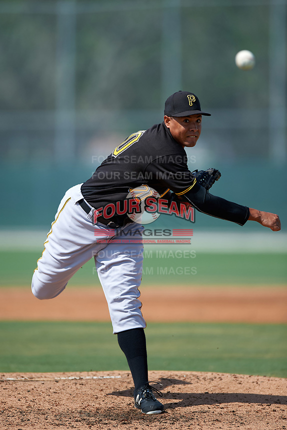 Pittsburgh Pirates Miguel Rosario (70) during a minor league Spring Training intrasquad game on April 3, 2016 at Pirate City in Bradenton, Florida.  (Mike Janes/Four Seam Images)