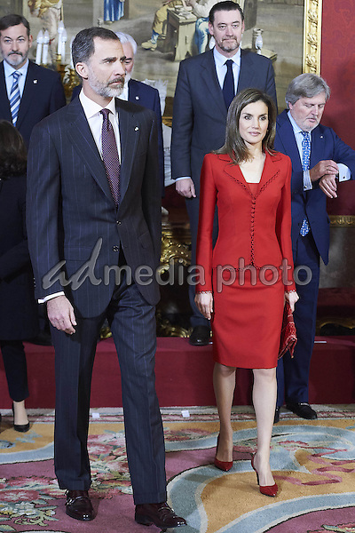 "30 January 2017 - Spanish Queen Letizia and King Felipe during the ë'Cervantes lives, closing of the commemoration of the 4th centenary of the death of Miguel de Cervantes"" in Madrid. Photo Credit: PPE/face to face/AdMedia"