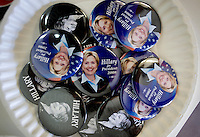 Hillary Clinton buttons were made available at the PUMA PAC, People United Means Action, headquarters in Denver, Colorado, USA headquarters, Sunday, August 24, 2008. PUMA is working to support Hillary Clinton against Barack Obama who is scheduled to accept the nomination for president at the Democratic Nation Convention..PHOTOS/ MATT NAGER