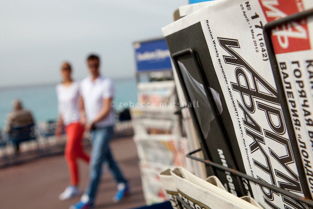 A Russian weekly newspaper on sale at a newstand on the Promenade des Anglais, Nice, France, 28 April 2012