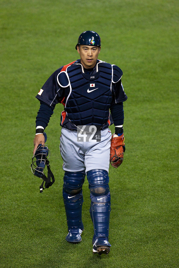 23 March 2009: #2 Kenji Johjima of Japan walks back to the dugout during the 2009 World Baseball Classic final game at Dodger Stadium in Los Angeles, California, USA. Japan defeated Korea 5-3