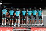 Astana Pro Team at sign on before Stage 3 of the Route d'Occitanie 2020, running 163.5km from Saint-Gaudens to Col de Beyrède, France. 3rd August 2020. <br /> Picture: Colin Flockton | Cyclefile<br /> <br /> All photos usage must carry mandatory copyright credit (© Cyclefile | Colin Flockton)