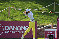 Yu Liu (CHN) tees off the 6th tee during Thursday's Round 1 of The Evian Championship 2018, held at the Evian Resort Golf Club, Evian-les-Bains, France. 13th September 2018.<br /> Picture: Eoin Clarke | Golffile<br /> <br /> <br /> All photos usage must carry mandatory copyright credit (&copy; Golffile | Eoin Clarke)