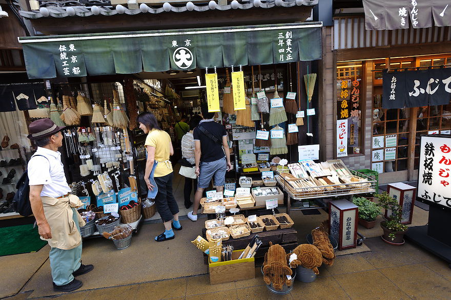 Kanaya brush shop, Asakusa, Tokyo, Japan, August 28, 2011. Sensoji is one of the oldest temples in Tokyo, and the shopping arcades around it have sold visitors souvenirs for centuries.