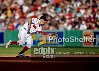 Jun 22, 2019; Boston, MA, USA; Boston Red Sox second baseman Brock Holt gets the third out in the 6th inning against the Toronto Blue Jays at Fenway Park. Mandatory Credit: Ed Wolfstein-USA TODAY Sports