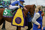 November 2, 2018:  Line of Duty #5 and William Buick receive congratulations after being declared the winner of  the Juvenile Turf on Breeders' Cup World Championship Friday at Churchill Downs on November 2, 2018 in Louisville, Kentucky.Casey Phillips/Eclipse Sportswire/CSM