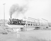 D&amp;RGW #476 with eight car Rocky Club excursion crossing the San Juan River at Juanita.<br /> D&amp;RGW  Juanita, CO  Taken by Springer, Fred M. - 5/30/1958