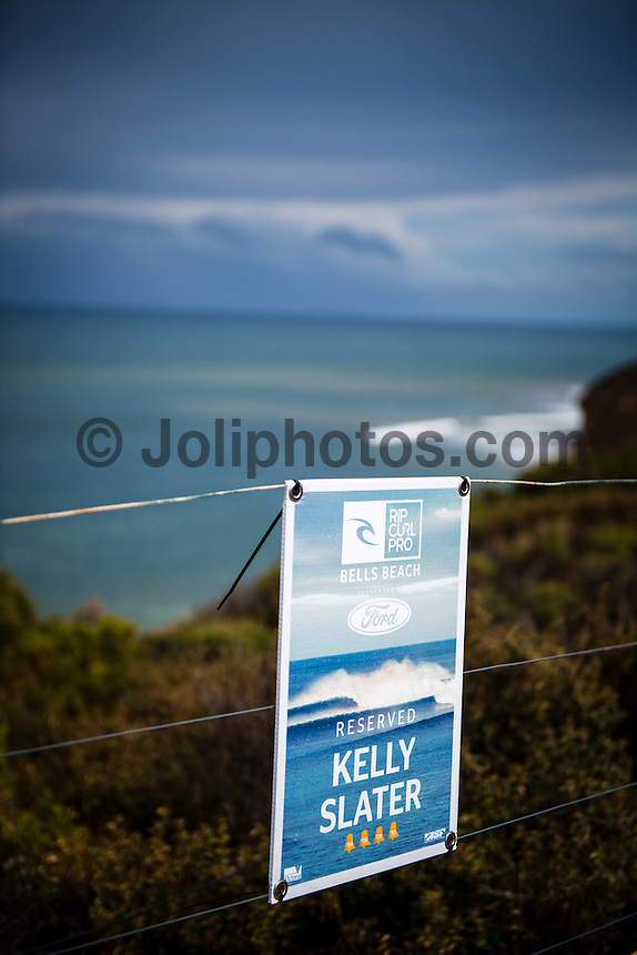 BELLS BEACH, Victoria/AUS (Friday, March 29, 2013) Kelly Slater (USA) parking spot at Bells.. - The ASP Top 34 returned to battle today as the Rip Curl Pro Bells Beach presented by Ford completed Round 1 of competition in clean three-to-four foot (1 metre) waves at Bells Beach..Stop No. 2 of 10 on the 2013 ASP World Championship Tour (WCT), the Rip Curl Pro Bells Beach recommences the hunt for this year's world surfing crown and the perennial threats were in blistering form on opening day..Kelly Slater (USA), 41, 11-time ASP World Champion, posted an emphatic victory over a lethal Adam Melling (AUS), 28, and wildcard Jacob Willcox (AUS), 15, in Round 1 of competition this afternoon. Slater's commanding display at Rincon point netted him the day's high heat total of an 18.07 out of a possible 20, including a near-perfect 9.70 on his final wave of the heat...Following a Runner-Up finish in 2012, Slater is back with a vengeance this season, collecting a win at the opening event on the Gold Coast and announcing his intentions for the year ahead..Joel Parkinson (AUS), 31, reigning ASP World Champion, has collected three Rip Curl Pro Bells Beach victories (2004, 2009, 2011) throughout his storied career and the stylish natural-footer continued his impressive run at the iconic break in Round 1 this morning..Parkinson was joined by Gold Coast stablemate and two-time ASP World Champion (2007, 2009) Mick Fanning (AUS), 31, today as back-to-back Round 1 victors with Fanning slicing through the morning conditions and directly into Round 3..Julian Wilson (AUS), 24, current ASP WCT No. 5, survived a hard-fought battle with Kai Otton (AUS), 33, and Patrick Gudauskas (USA), 27, to punctuate this morning's action...Long considered one of the premiere surfers on the planet, Wilson's start to the 2013 season has positioned the young Sunshine Coaster in the hunt for the 2013 ASP World Title..While the top seeds dominated the opening day proceedings, rookies Nat Young (USA), 21, and Fil