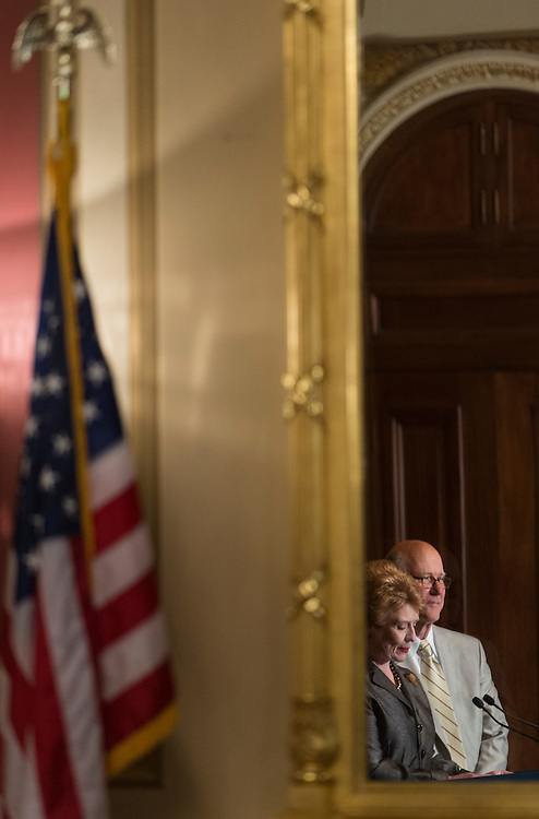 UNITED STATES - JUNE 6: Senate Agriculture Chairwoman Debbie Stabenow, D-Mich., and ranking member Sen. Pat Roberts, R-Kan., hold their news conference to discuss the Agriculture Reform, Food and Jobs Act of 2012 on Wednesday, June 6, 2012. (Photo By Bill Clark/CQ Roll Call)