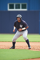 GCL Yankees West first baseman Miguel Flames (62) leads off first base during the first game of a doubleheader against the GCL Yankees East on July 19, 2017 at the Yankees Minor League Complex in Tampa, Florida.  GCL Yankees West defeated the GCL Yankees East 11-2.  (Mike Janes/Four Seam Images)