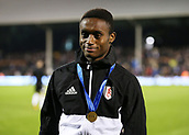 31st October 2017, Craven Cottage, London, England; EFL Championship football, Fulham versus Bristol City; Steven Sessegnon of Fulham posing with a FIFA Under-17 World Cup winners gold medal at half time
