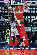 Washington, DC - Sept 17, 2017: Minnesota Lynx center Sylvia Fowles (34) goes up strong to the basket agaibnst Washington Mystics center Emma Meesseman (33) during playoff game between the Mystics and Lynx at the Verizon Center in Washington, DC. (Photo by Phil Peters/Media Images International)