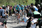 Spanish Champion Ion Izagirre (ESP) Astana Pro Team leads the next group up the Ixua a brutal 20% off road climb during Stage 5 of the Tour of the Basque Country 2019 running 149.8km from Arrigorriaga to Arrate, Spain. 12th April 2019.<br /> Picture: Colin Flockton | Cyclefile<br /> <br /> <br /> All photos usage must carry mandatory copyright credit (&copy; Cyclefile | Colin Flockton)