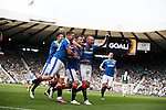 Rangers Andy Halliday (center) celebrates scoring during the William Hill Scottish Cup Final match at Hampden Park Stadium.  Photo credit should read: Lynne Cameron/Sportimage via Sportimage