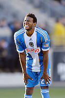 Lionard Pajoy (23) of the Philadelphia Union reacts to a missed scoring opportunity during the second half against the Colorado Rapids. The Colorado Rapids defeated the Philadelphia Union 2-1 during a Major League Soccer (MLS) match at PPL Park in Chester, PA, on March 18, 2012.