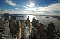 Bird's eye view of New York harbor, looking south from atop the W Hotel in lower Manhattan, NY, Friday, December 12, 2014.<br />