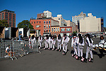 The Kansas City Marching Cobras rehearse before their first performance in Brooklyn.
