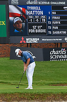 Tyrrell Hatton (ENG) barely misses his birdie putt on 16 during round 4 of the 2019 Charles Schwab Challenge, Colonial Country Club, Ft. Worth, Texas,  USA. 5/26/2019.<br /> Picture: Golffile | Ken Murray<br /> <br /> All photo usage must carry mandatory copyright credit (© Golffile | Ken Murray)