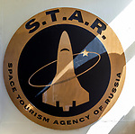 Space Tourism Agency of Russia sign, Bentwaters Cold War museum, Suffolk, England, UK