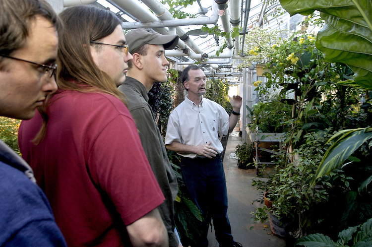 16260Dads day pool rec room and Green House Harold Blazier: Johnny Hanson..Students get at tour of the greenhouse by Harold Blazier during their introduction to the greenhouse class.
