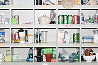 Lab workers' food and drinks stand on shelves outside George Church's Lab in the New Research Building at Harvard Medical School's Department of Genetics in Boston, Massachusetts, USA, on Tues., Sept. 5, 2017.